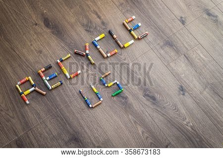 Adelaide, Australia - July 7, 2019: Recycled Us Text Made Of Household Aa And Aaa Batteries Ready Fo