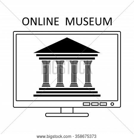 Online Museum Concept In Line Style. Museum Gallery Art Sign Icon. Outline Vector Illustration. Onli