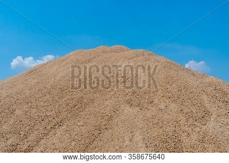 Close Up Of Sand Dunes On Blue Sky Background