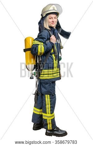 Young Woman Firefighter Wearing Uniform And Helmet With Breathing Air Cylinder Assembly And Full Fac
