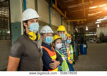 Group Technician Is Ready To Work At Factory And Wear A Mask To Prevent The Disease From Coronavirus