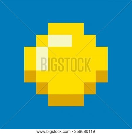 Gold Icon In Pixel Game Isolated On Blue. Vector Digital Money To Play In 8 Bit Or 16 Bit Gaming, Sy