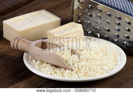 Grated Soap For Natural Laundry. Eco Friendly Way How To Wash Laundry. Good For People With Allergy.