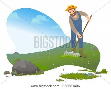 Farmer Working With Soil. Man Using Rakes At Lawn. Farming Character Wearing Special Uniform And Hat