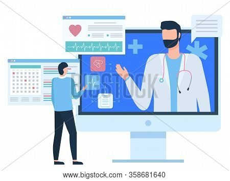 Monitor Of Computer With Doctor, Chat With Medical Assistant, Diagnosis Or Cardiogram Report Of Pati