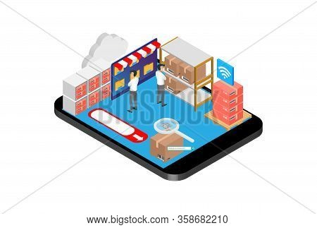 Modern Isometric Product Inventory Illustration, Web Banners, Suitable For Diagrams, Infographics, B