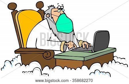 Illustration Of St. Peter Sitting At His Desk In The Clouds And Wearing A Surgical Mask.