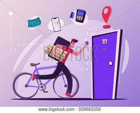 Fast Delivery Company Concept. Courier Rings The Doorbell. Cartoon Vector Illustration.