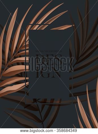 Dry Palm Tropical Leaves Summer Background. Festival Exotic Natural Design, Black Beige Paradise Ad