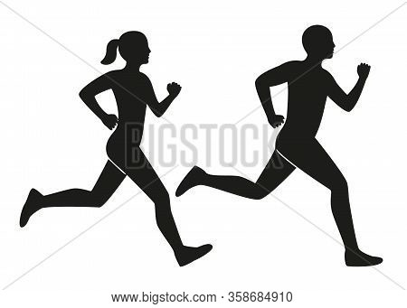 Young Man And Woman Runs, Black Contour Silhouette. Male And Female Runners. Sport Lifestyle, Speed,