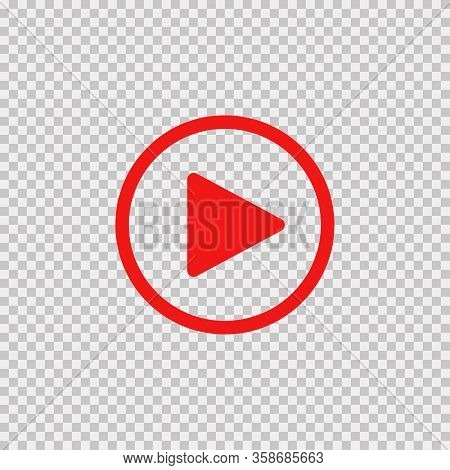 Play Button. Vector Isolated Icon Or Sign. Play Sign Red Color On Transparent Background. Eps 10