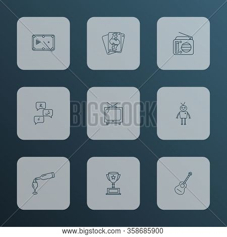 Hobby Icons Line Style Set With Playing Cards, Award Cup, Radio And Other Snooker Elements. Isolated
