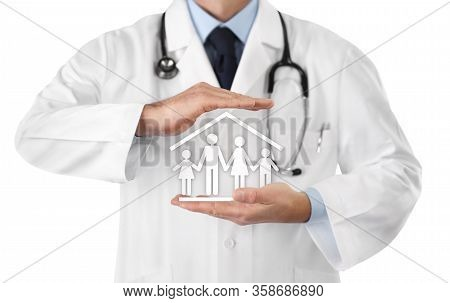 Corona Virus Covid 19 Protection Stay At Home Concept, Doctor Hands With Family Symbol Icon Isolated