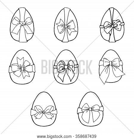 Set Of Easter Eggs With A Bow.outline Image By Hand.coloring.black And White Image.the Glorious Feas