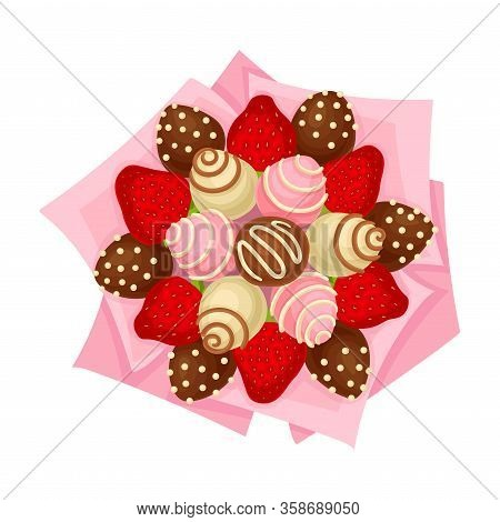 Bouquet Of Sweets And Strawberry Covered With Chocolate In Paper Wrap View From Above Vector Illustr
