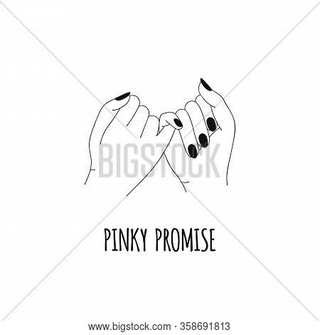 Pinky Promise. Pinky Swear. Hands. Outline, Line Art. Vector