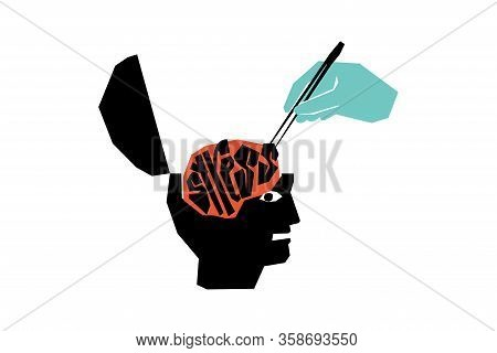 The Concept Of Psychological Assistance. Relieve Stress With The Help Of A Specialist. Minimalistic