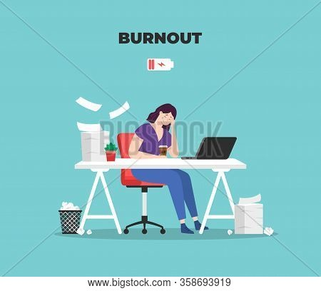 Burnout Woman. Professional Burnout Syndrome. Stress. Exhausted Tired Woman. Vector