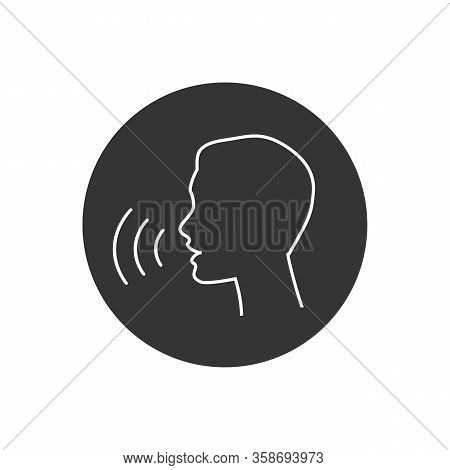 Voice Control Line Icon. Speak Or Talk Recognition Linear Icon, Speaking And Talking Command, Sound