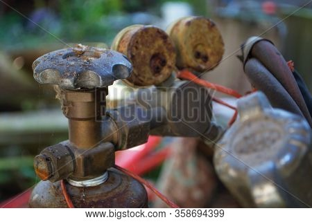 Dust And Cobwebs On Pressure Valves And Gauges For An Oxy Oxygen Acetylene Welder