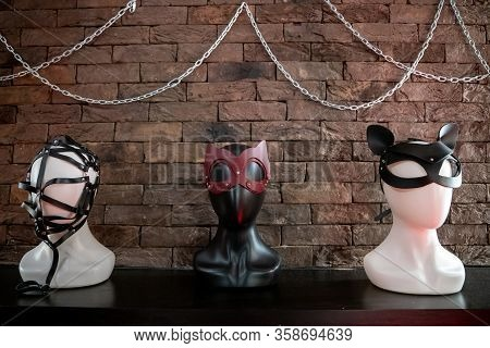 Bdsm Masks For Women. Concept Of Sexual Domination And Bondage