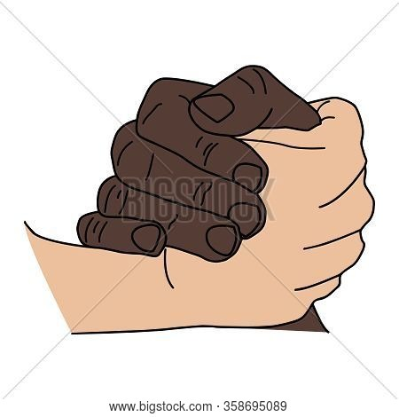Handshake Gesture Isolated On White Background. Vector Illustration Of Multiracial Holding Hands, Pe
