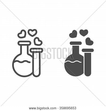 Two Potions Line And Solid Icon. Flask And Tube With Elixir And Hearts Bubbles Symbol, Outline Style