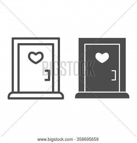 Love Doorway Line And Solid Icon. Close Door With Heart Shaped Window Symbol, Outline Style Pictogra