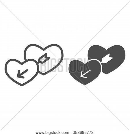 Lovers Hearts Line And Solid Icon. Amour Shape Of Heart And Cupids With Arrow Symbol, Outline Style