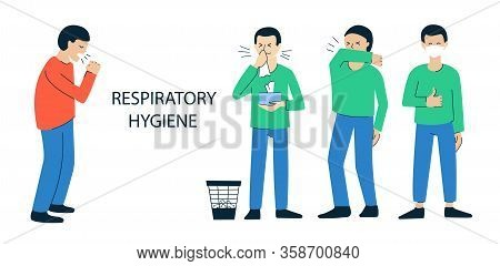 Set Of Vector Illustrations Isolated On White. Poster, Brochure Design Concept. Coughing, Sneezing P