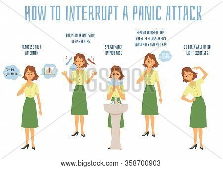 Panic Attack Interruption - Medical Banner Flat Vector Illustration Isolated.