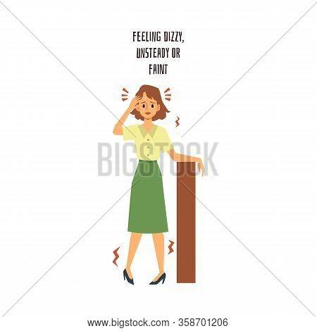 Cartoon Girl Feeling Fizzy, Unsteady And Faint - Worried And Sad Office Woman