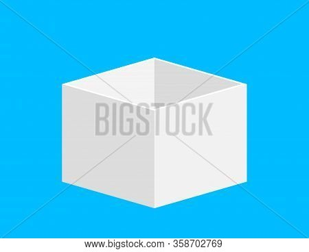 Open Gift Box Square White For Template Design, Box White Isolated On Blue Background, Single White