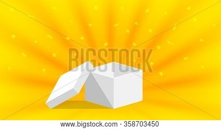 Empty Box Open Isolated On Yellow Gold Background, Single Open White Box For Surprise Or Gift Presen