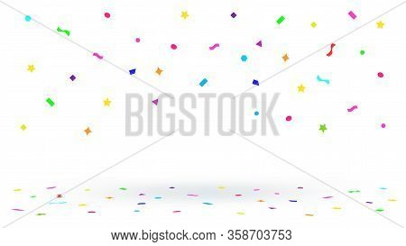 Confetti Ribbon Colorful Flying For Decoration Party Backdrop, Colorful Confetti Falling From Top Is