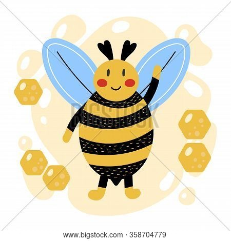 Cute Cartoon Bumblebee. Hand Drawn Style. Yellow Background With Honeycomb. Kids Illustration.