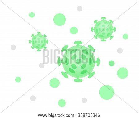 Virus Illustration Green Color, Virus Simple Flat Symbol, Clip Art Virus Green Isolated On White Bac