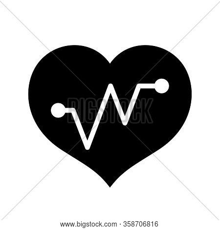 Hearts Shape With Beat Pulse Line Isolated On White, Heart Wave Icon Flat, Clip Art Heartbeat Of Med