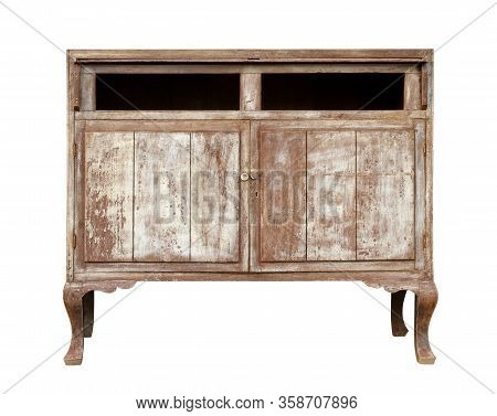 Vintage Wooden Cabinet (with Clipping Path) Isolated On White Background