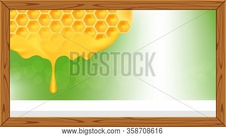 Honeycomb In A Wooden Frame And Copy Space Advertisement, Honey Comb In Wood Frame For Banner Advert
