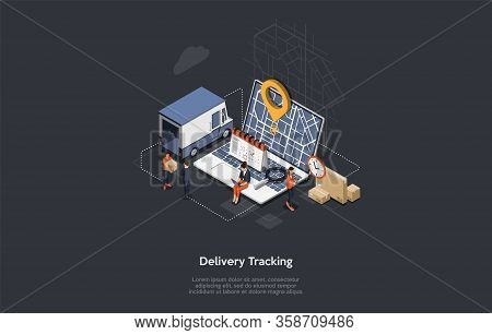 Isometric Online Cargo Delivery Tracking System With Gps Position Of Van On The Map. City Logistics