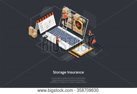 Isometric Cargo Insurance Concept. Workers Work In Warehouse, Storage Goods, Sort And Give Out Cargo
