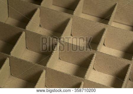 Cardboard Box Made Of Craft Paper Shot Close-up.