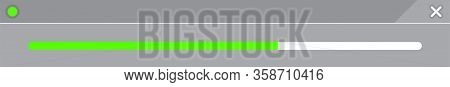 Progress Bar Bright Green Line Isolated On Rectangular Grey, Strip Bar Progress Green For Media Grap