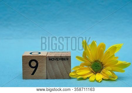 9 November On Wooden Blocks With A Yellow Aster On A Blue Background