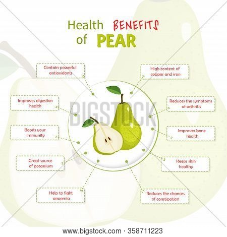 Health Benefits Of Pear. Pears Nutrients Infographic Template Vector Illustration. Fresh Fruits