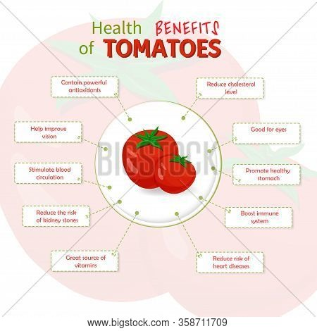 Health Benefits Of Tomatoes. Tomatoes Nutrients Infographic Template Vector Illustration. Fresh Frui