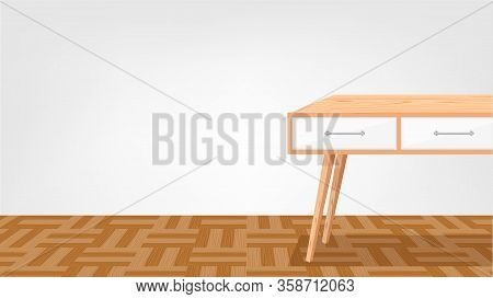 Empty Wooden Desk In Room And Parquet Wood Flooring Background, Modern Wood Table In Blank Room, Tab