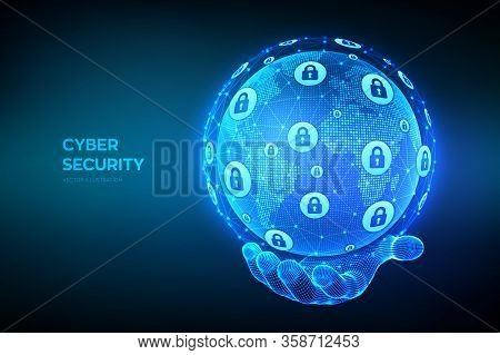 Cyber Security. Information Protect And Security Of Safe Concept. World Map Point And Line Compositi