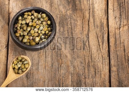 Capers In Wooden Bowl - Capparis Spinosa